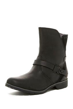 $140 Teva De La Vina Low Black Leather Riding Boots Waterpro