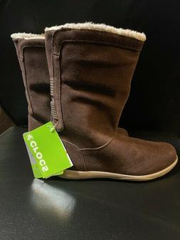 Crocs 15496 Womens Adela Foldover Fuzz Snow Boots Size 7 mah