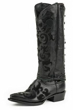 Stetson 15In Womens Black Leather Aria Cowboy Boots