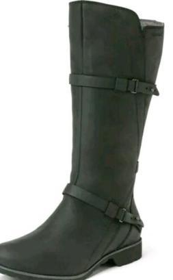 $180 Teva De La Vina Tall Black Leather Riding Boots Waterpr