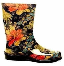 Sloggers 5002bk08 Size 8 Womens Garden Boots Black Print Wat