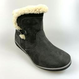 $69 NEW Global Win Women's Size 8 Charcoal Suede Boots Feax