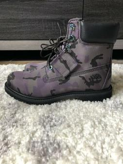 Timberland 6inch Lace Up Purple Camo Boots Women's 8