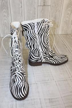 DailyShoes Combat Boots - Women's Size 6.5 - Zebra Print