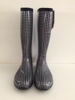 Kamik Women's Tall Rain Boots/Black Houndstooth Check/US Siz