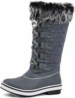 women s waterproof winter snow boots dark