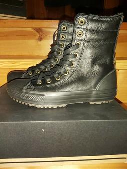 Converse All Star Boot Extra High Black Leather Back Zip Wom