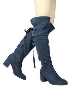 DREAM PAIRS AMUS Womens Dress Strechy Over The Knee Thigh Hi