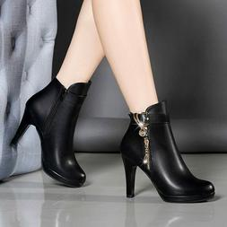 Autumn Ankle Boots For Women Thin Heel Zipper Casual Female