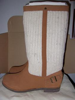 REEF Autumn Star Women's Boots Tan Suede Leather Beige Cable