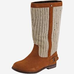 👢REEF Womens Winter Boots Tan Suede Leather & Beige Cable