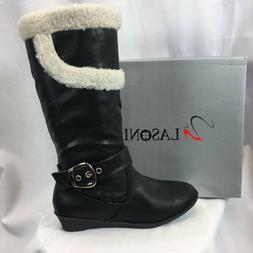 LASONIA B268 Mid Calf Boots for Women Black