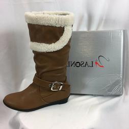 LASONIA B268 Mid Calf Boots for Women Camel