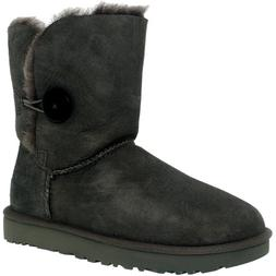Ugg Women's Bailey Button II Grey Ankle-High Suede Boot - 9M