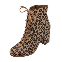 PIC/PAY Benji - Women's Lace-up Vintage Zipper Boot - Mid He