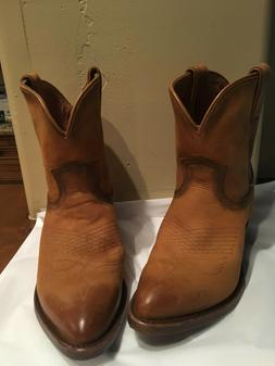 Frye Billy Western Cowboy Short Ankle Boots Cognac Brown Lea