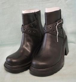 BLACK Combat Style Boots Shoes Women Lower EAST Side Zipper