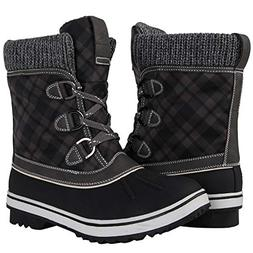 GLOBALWIN Women's Black/Grey Winter Snow Boots 8.5 M US