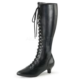 Black Leather Lace Up Knee High Drag Queen Large Size Womans