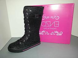 ENZO ANGIOLINI Black Sequin Lace/Buckle Up Sneaker Boots Siz