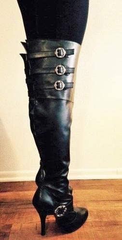 Black Thigh High Over the Knee Steampunk Buckle Wide Width C