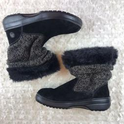 Black womens crocs size 8 Winter Faux Fur Clog Snow Boots
