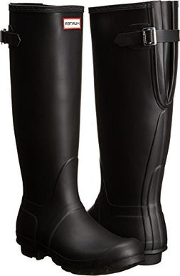 Hunter Women's Original Back Adjustable Rain Boots Black 8 M