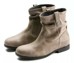 Birkenstock Boots Brown Bootie Round Toe Ankle Zipper Closur