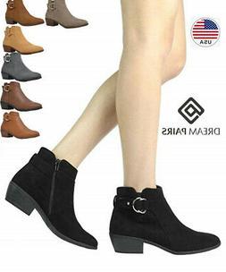 TOETOS BOSTON-03 Women's Stylish Cowboy Chunky Heel Zipper C
