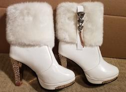 BRAND NEW Leather Short Boots High-Sparkle-Heels Fuzz-Top/Li