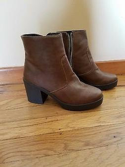 Brand New Multi Seasonal TOP SHOP Brown Leather Boots- Bloss