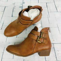 Top Moda Brown Back Zip Ankle Boots ~ Womens Sz 6.5 NWOB