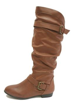 Rampage Brown Knee High Flat Tall Boots BASKING Women's Shoe