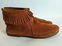 Minnetonka Brown Suede Leather Fringe Moccasins Booties Wome