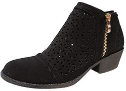 Top Moda CHEVY-19 Women Pointed Mid Block Heel Ankle Booties
