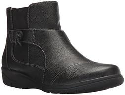 CLARKS Women's Cheyn Work Ankle Bootie Black Leather 9 M US