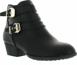Top Moda Cl-14 Women's Buckle Straps Stacked Low Heel Ankle