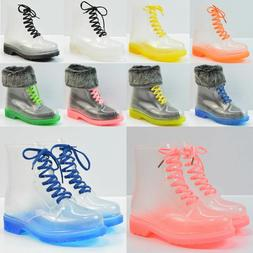 Clear Rain Ankle Boots Jelly Martin Lace up Flat Rubber Well