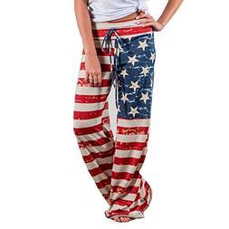 Clearance Sale! Women Pants WEUIE Women American Flag Drawst