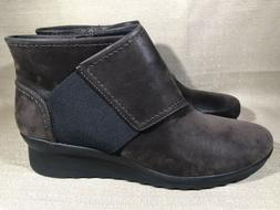 Cloudsteppers Clarks Wedge Brown Ankle Boots Booties Size 9