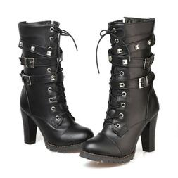 Combat Military Ankle Boots Buckle Strap Spike Lace up High