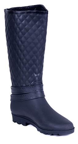 Forever Young Couture Women Rubber Black Quilted Rain Boots