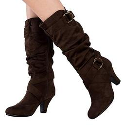 OLIVIA K Women's Cozy Mid Calf Faux Suede or Leather with Bu