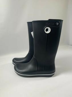 crocs Women's Crocband Jaunt Rain Boot,Black,8 M US