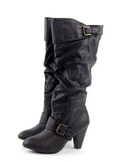 Rampage Dark Brown Slouch Buckle Knee High Heel Stacked Boot