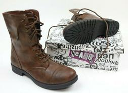 Brash Deejay Womens Boots Brown High Top Military Combat Siz