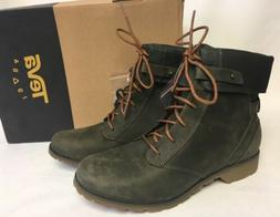 TEVA DELAVINA LACE Up Dark Olive LEATHER MID-CALF WOMEN'S BO