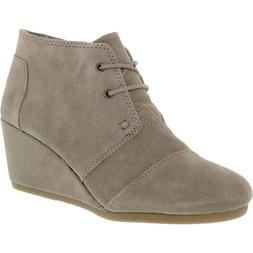 Toms Women's Desert Wedge Boot Taupe Suede Ankle-High Suede