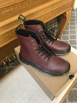DR. MARTENS LUANA CHERRY RED BOOTS/ MISTMATCHED 5 AND 6.