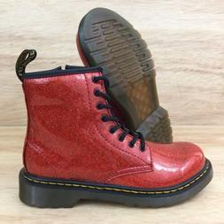 Dr. Martens Womens Glitter Red Burnt Orange Sz 7 High Boots